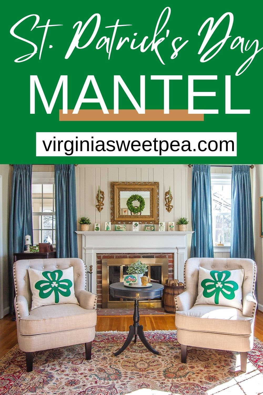 Decorate for March with a St. Patrick's Day theme.  See a St. Patrick's Day mantel decorated with vintage St. Patrick's Day postcards, a green wreath and plants, and green candles. via @spaula