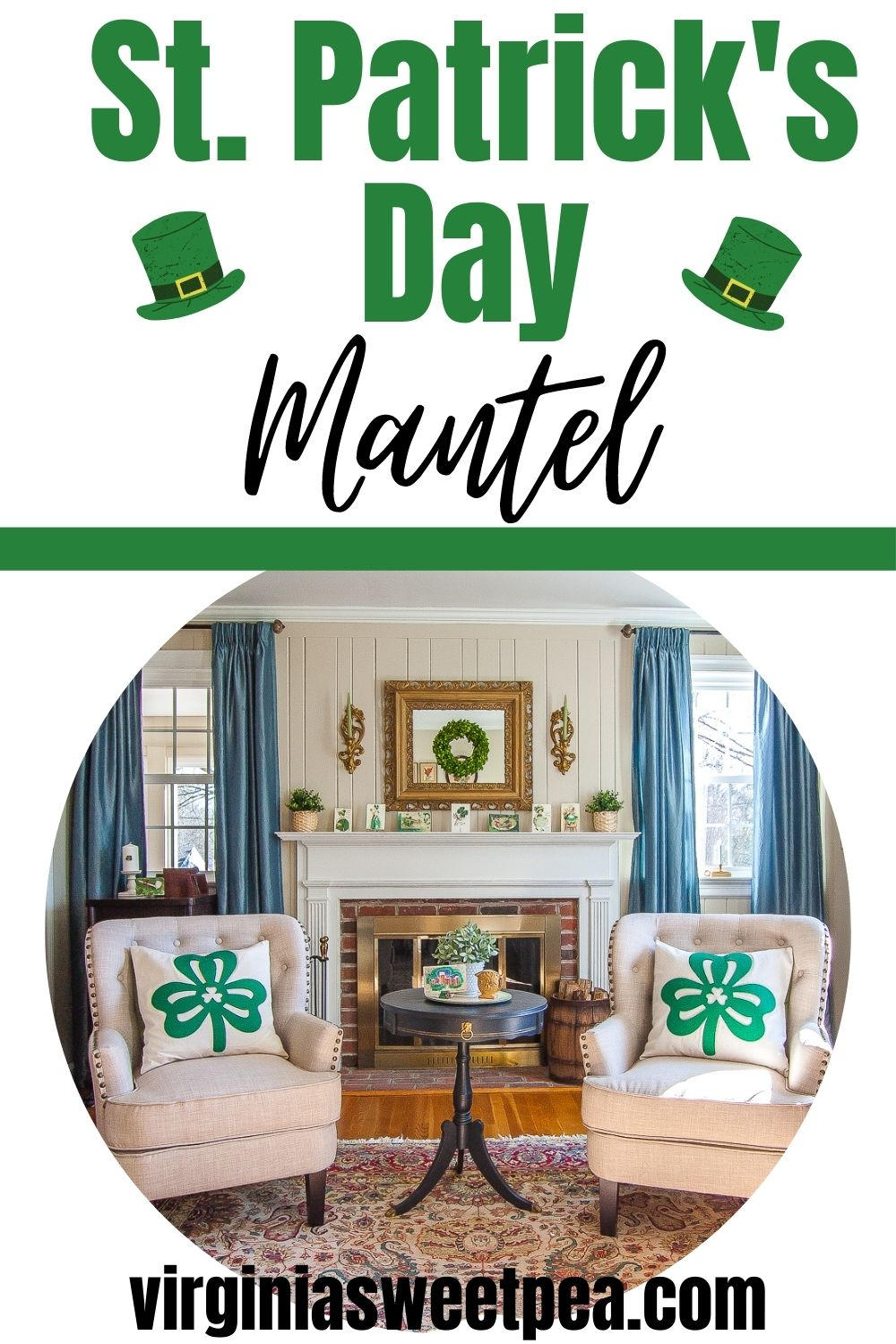 Decorate for March with a St. Patrick's Day mantel.  See how this mantel is decorated for the season with green plants, a wreath, candles, as well as gorgeous vintage St. Patrick's Day postcards. via @spaula