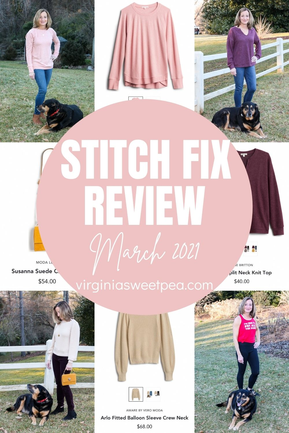 March is here and this month's Stitch Fix box was filled with fashions to enjoy as winter fades into spring.  Stitch Fix outfits dominate my wardrobe and the tops, sweaters, and leggings sent are perfect to wear for March.  See all the details on each item and get Stitch Fix inspiration for your next box.  #stitchfix #stitchfixreview via @spaula