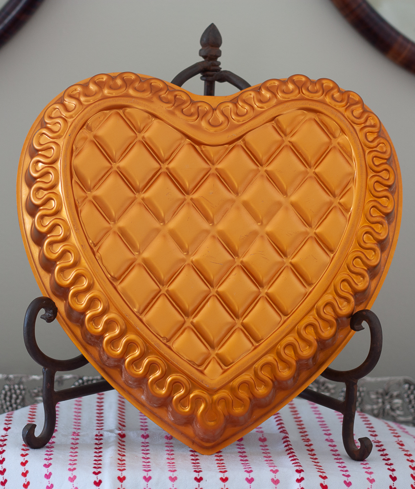 Copper colored heart shaped cake or jello pan