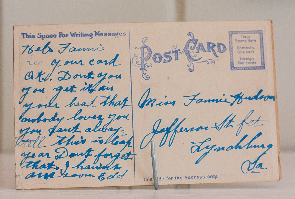 Vintage Postcard addressed to Miss Fannie Hudson, Lynchburg, VA
