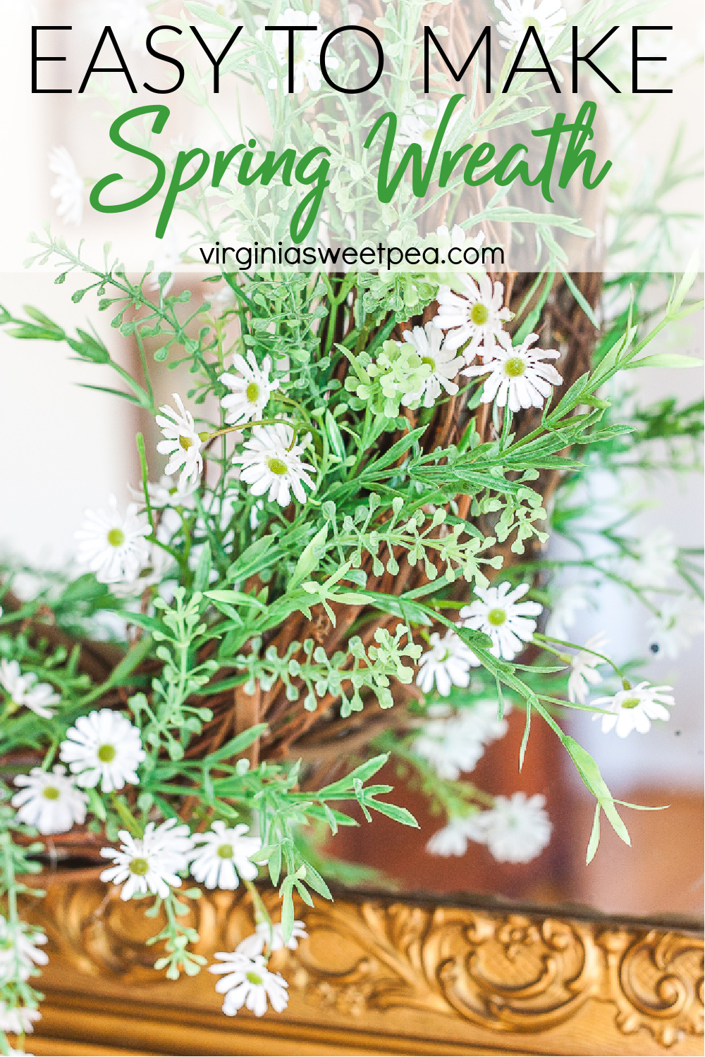 Looking for ideas for how to make a spring wreath?  This beautiful wreath is super simple to make and it looks great hanging over a mantel, on a mirror, or on a door.  Follow the step-by-step tutorial to make a wreath like this for your home. via @spaula