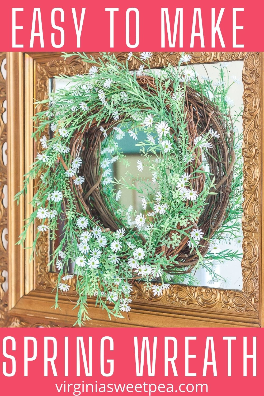 Follow this step-by-step tutorial to learn how to make a spring wreath to use to decorate your home for spring.  It looks great hanging on a door, mirror, or over a mantel for spring. via @spaula