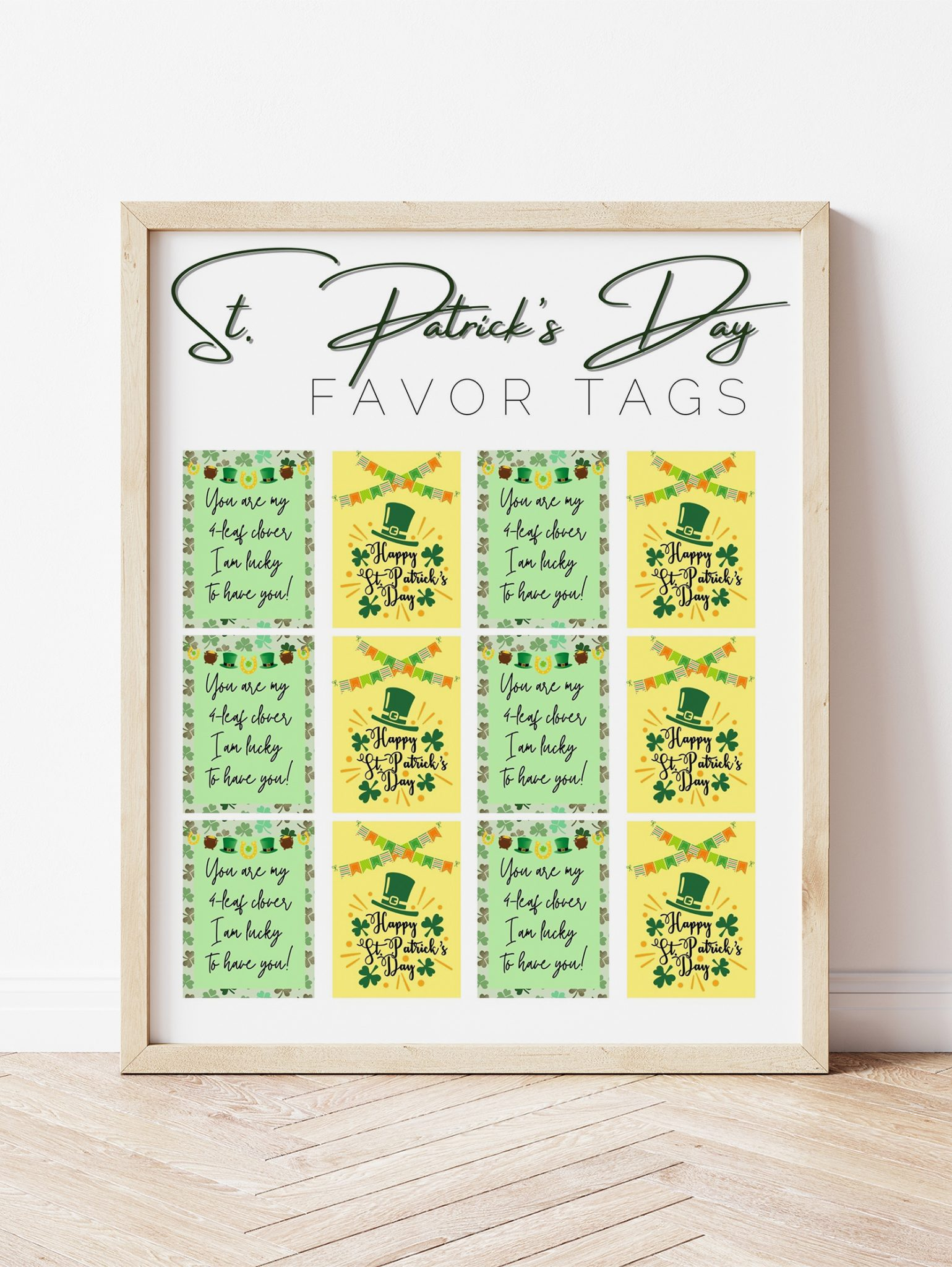 12 rectangular free printable St. Patrick's Day tags