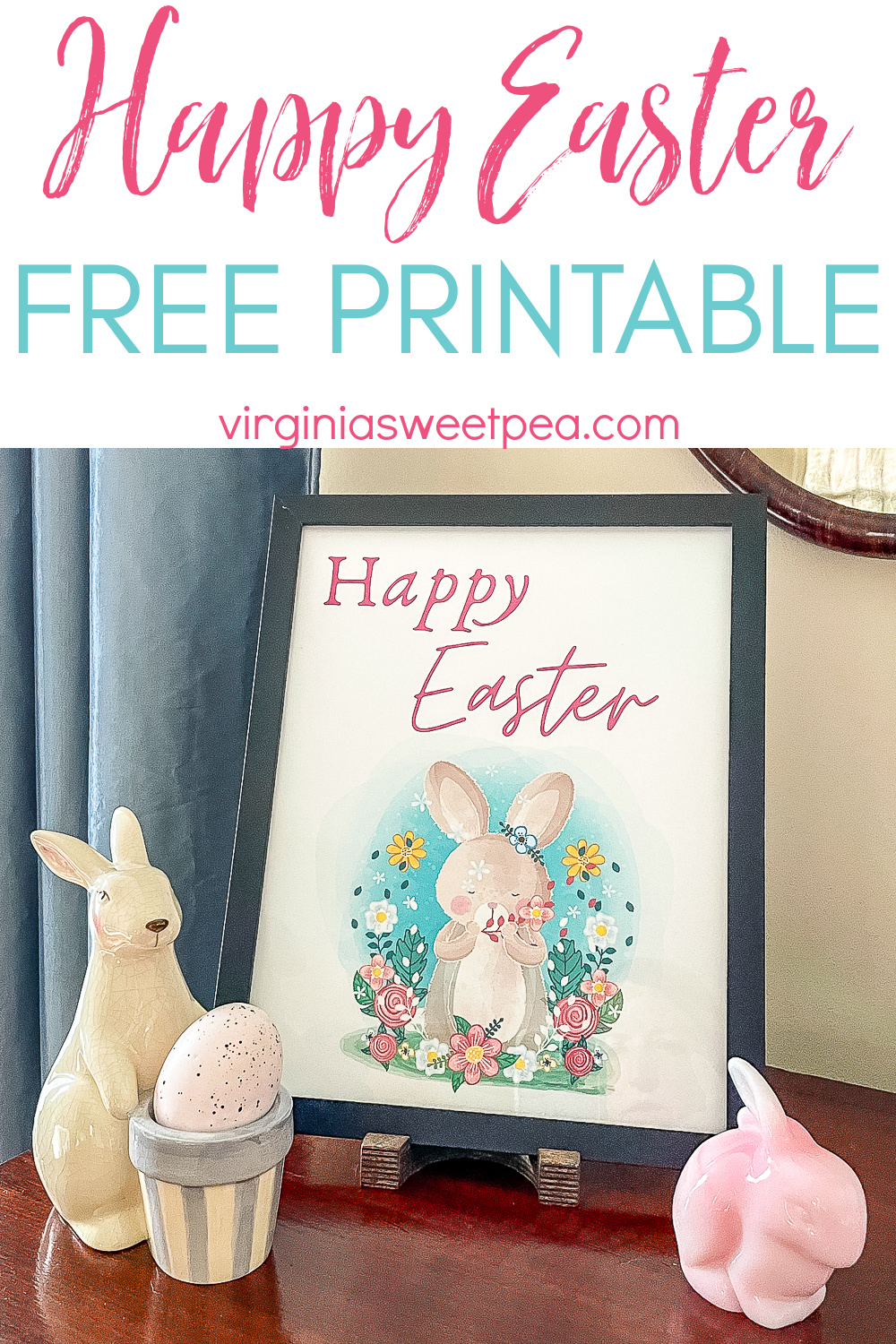 Easily decorate for Easter with free printable Happy Easter frameable art.  Use this Easter free printable displayed in a frame or on a clipboard, on a bulletin board, a refrigerator, or on an office wall.   via @spaula