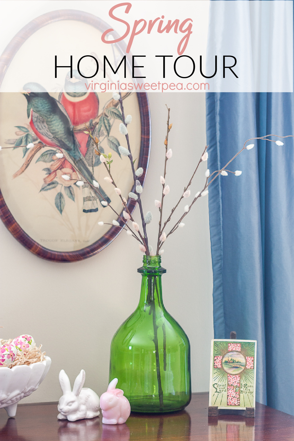 Get ideas for decorating for spring from this home decorated for spring with vintage family treasures.  Don't miss the creative ideas shared.  You are sure to find ideas to use for spring in your home. via @spaula