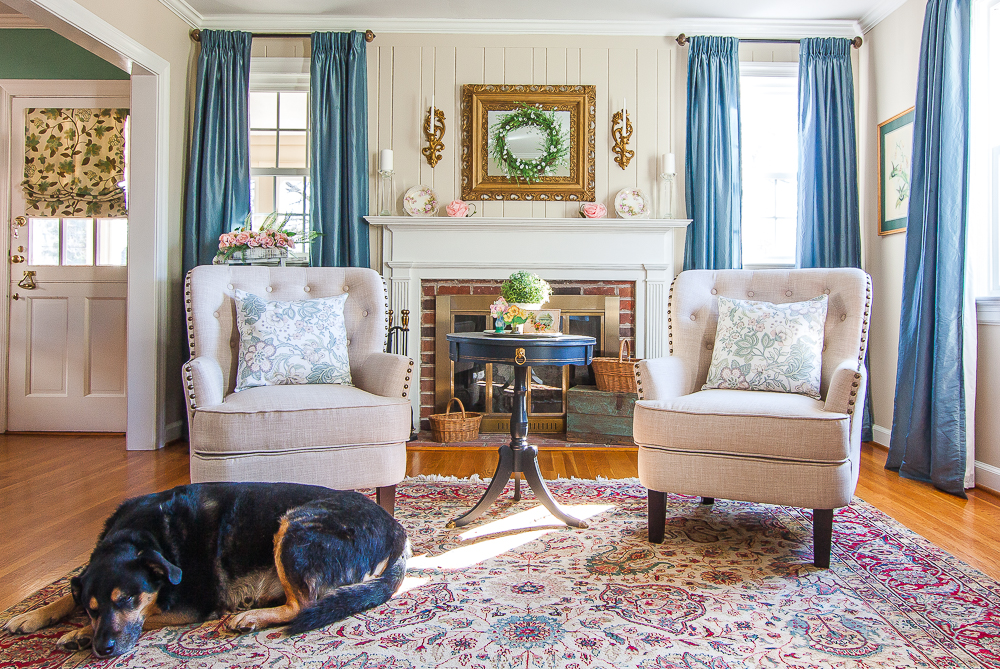 Living room decorated for spring with a dog on the floor