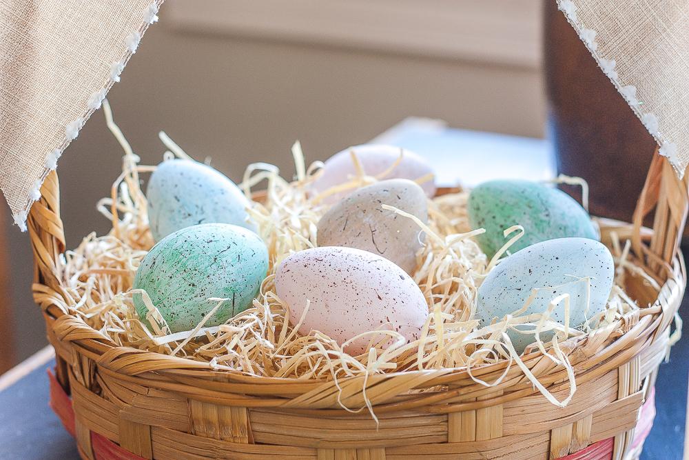 Handmade speckled Easter eggs