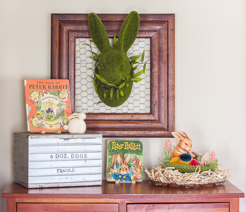 Easter display on a chest in a family room