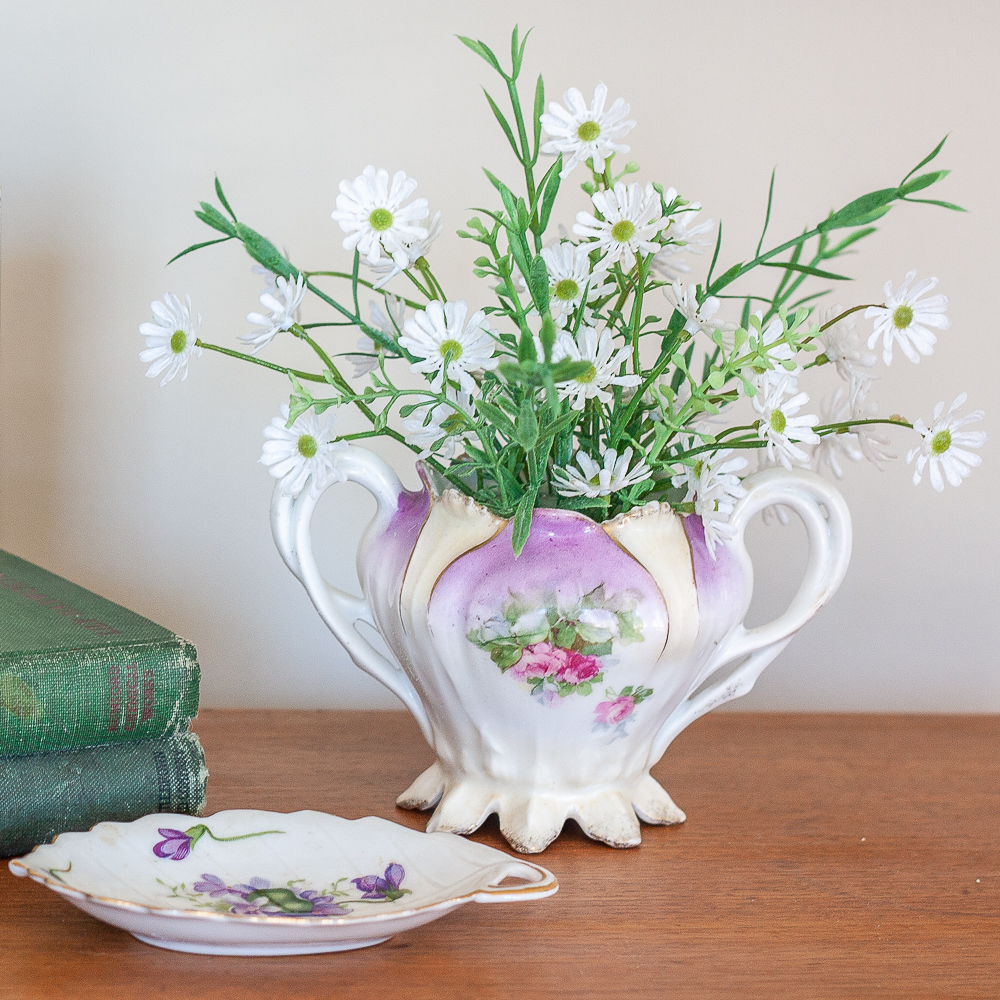 Vintage Rossetti SPRING VIOLETS Occupied Japan Leaf Dish 1945-1953 with RS Prussia sugar bowl