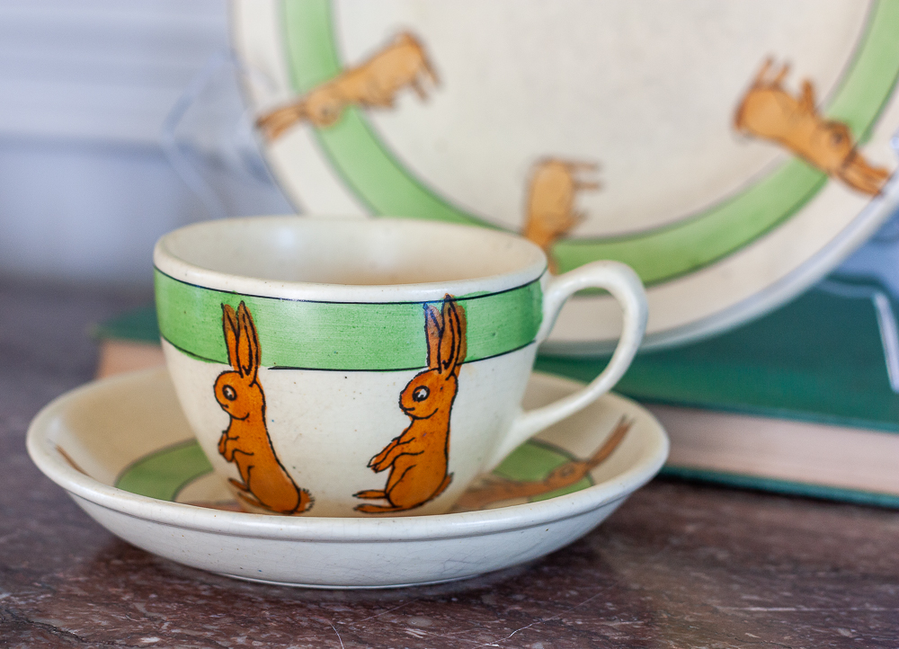 Roseville pottery 1920s juvenile rabbit cup and saucer and matching bunny plate