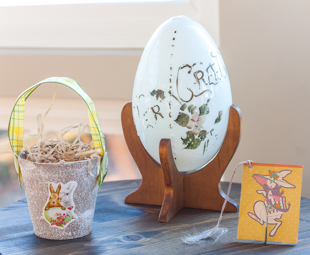 Antique Easter Greetings egg, vintage Easter rabbit bridge tally card, handmade peat pot Easter treat basket