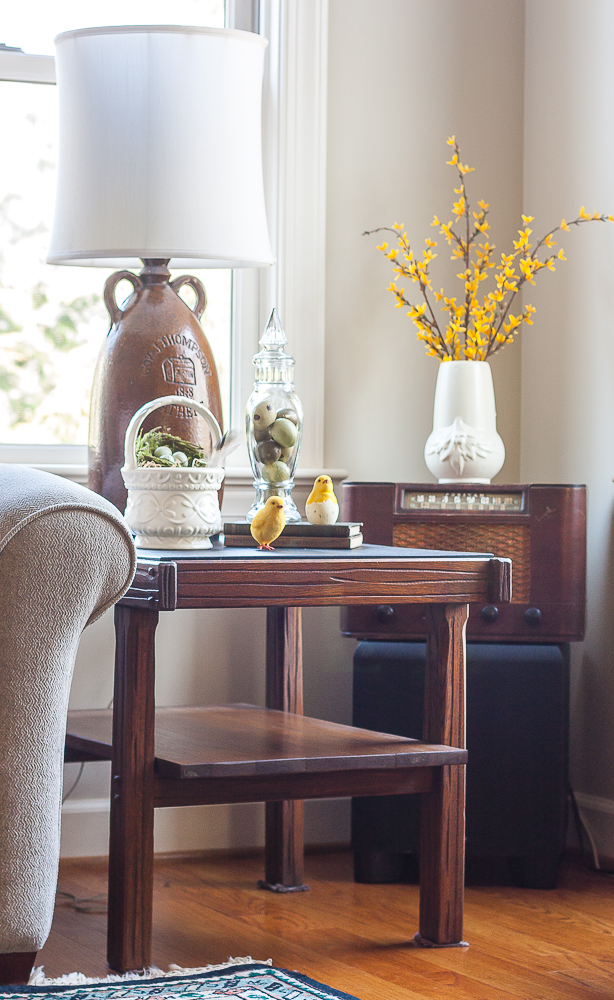 Spring and Easter decor in a family room