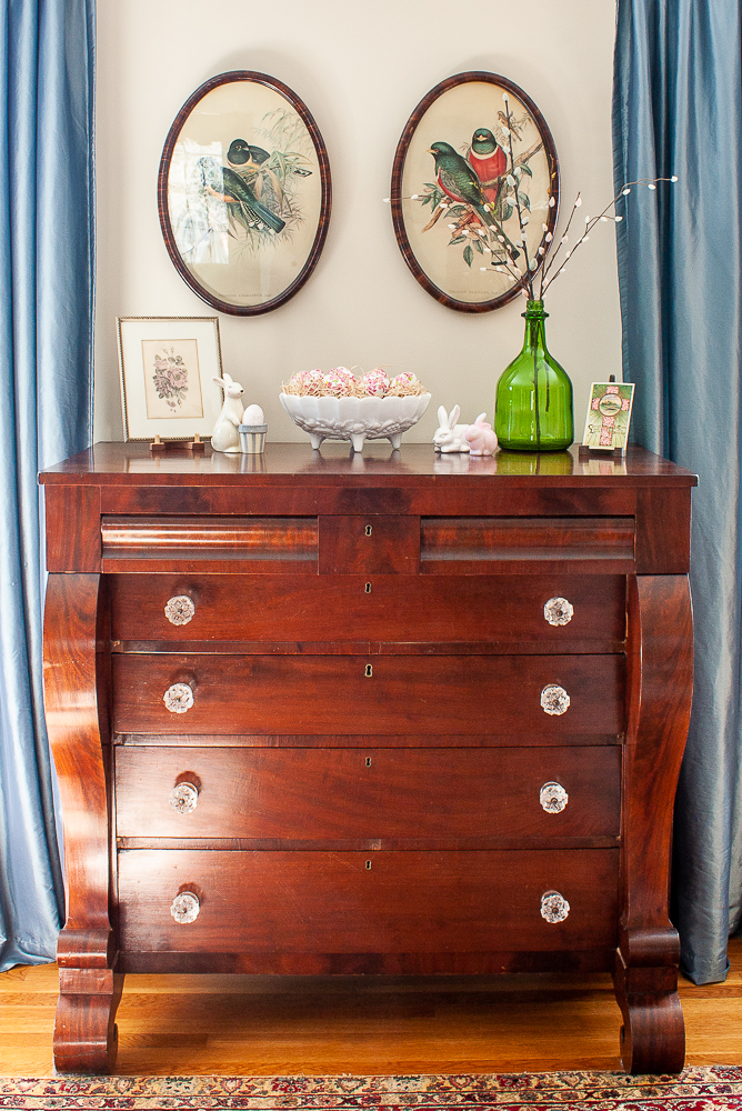 Antique chest of drawers decorated for Easter