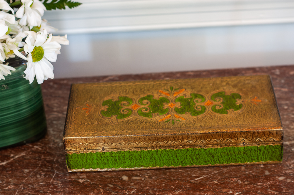 Vintage green and gold box