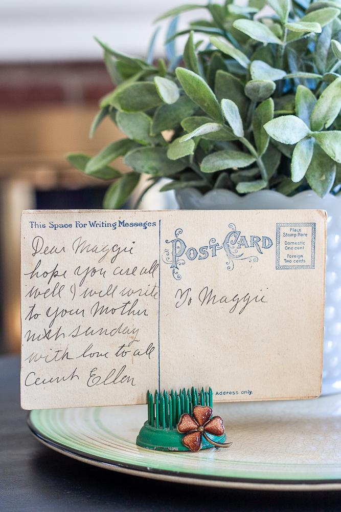Back of a St. Patrick's Day vintage postcard