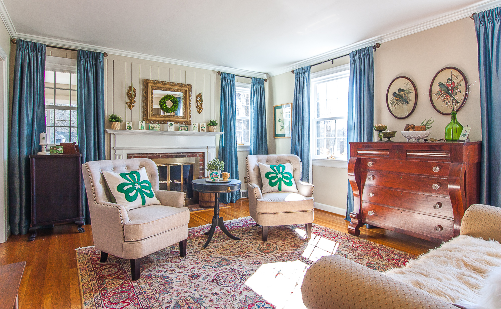 Formal Living Room Decorated for St. Patrick's Day