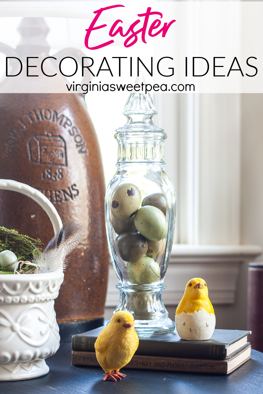 Get ideas for creating beautiful Easter vignettes to use to decorate your home.  You'll be amazed at the ideas that you can easily copy to use in your own home. via @spaula
