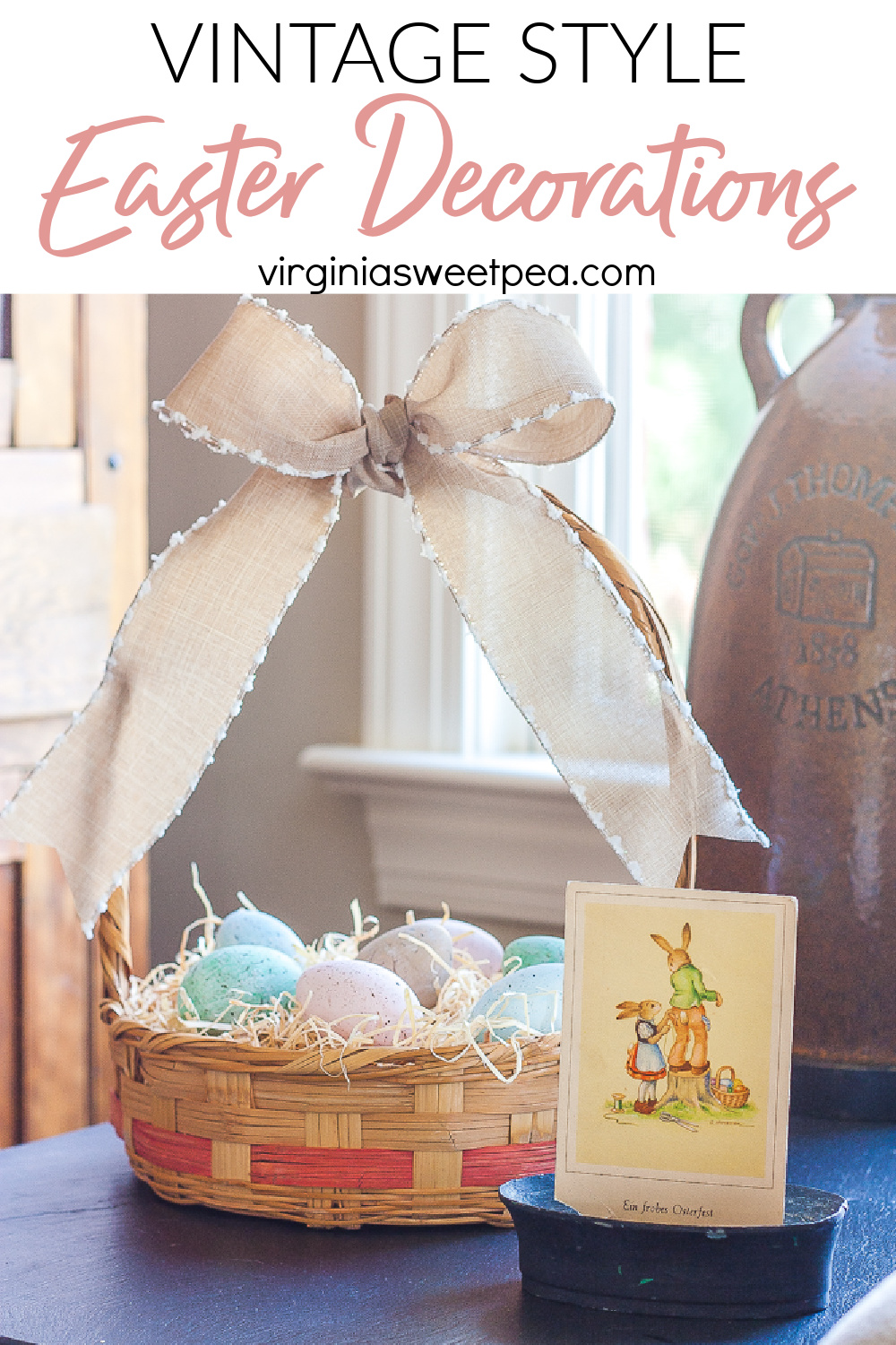 See a home decorated for Easter with vintage style.  Get ideas for creating displays to decorate your home for Easter. via @spaula