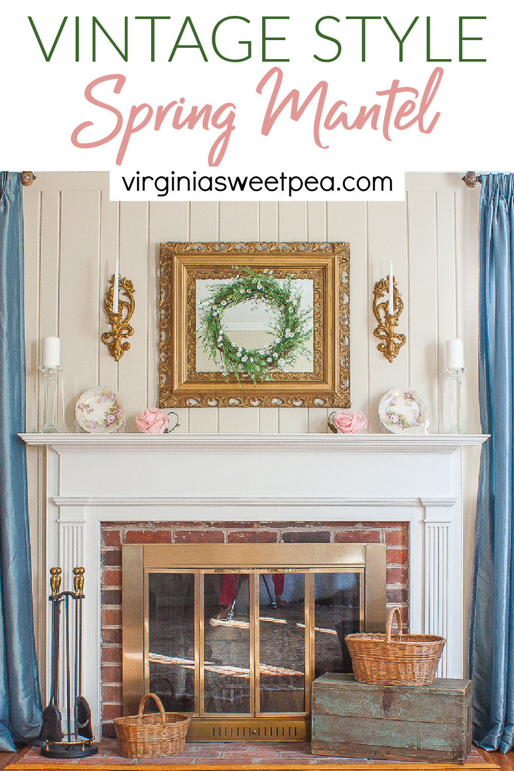 See a mantel decorated for spring with vintage style.  A handmade wreath, pink crepe paper flowers, dishes, white candles, and vintage baskets were used to decorate this mantel for spring.  Don't miss seeing this mantel plus those shared by a talented group of home decor bloggers.   via @spaula