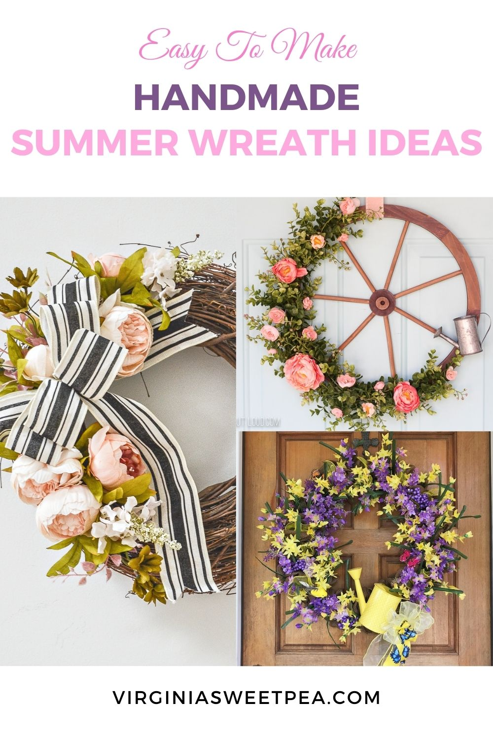 easy to make handmade summer wreath ideas pin collage with text overlay
