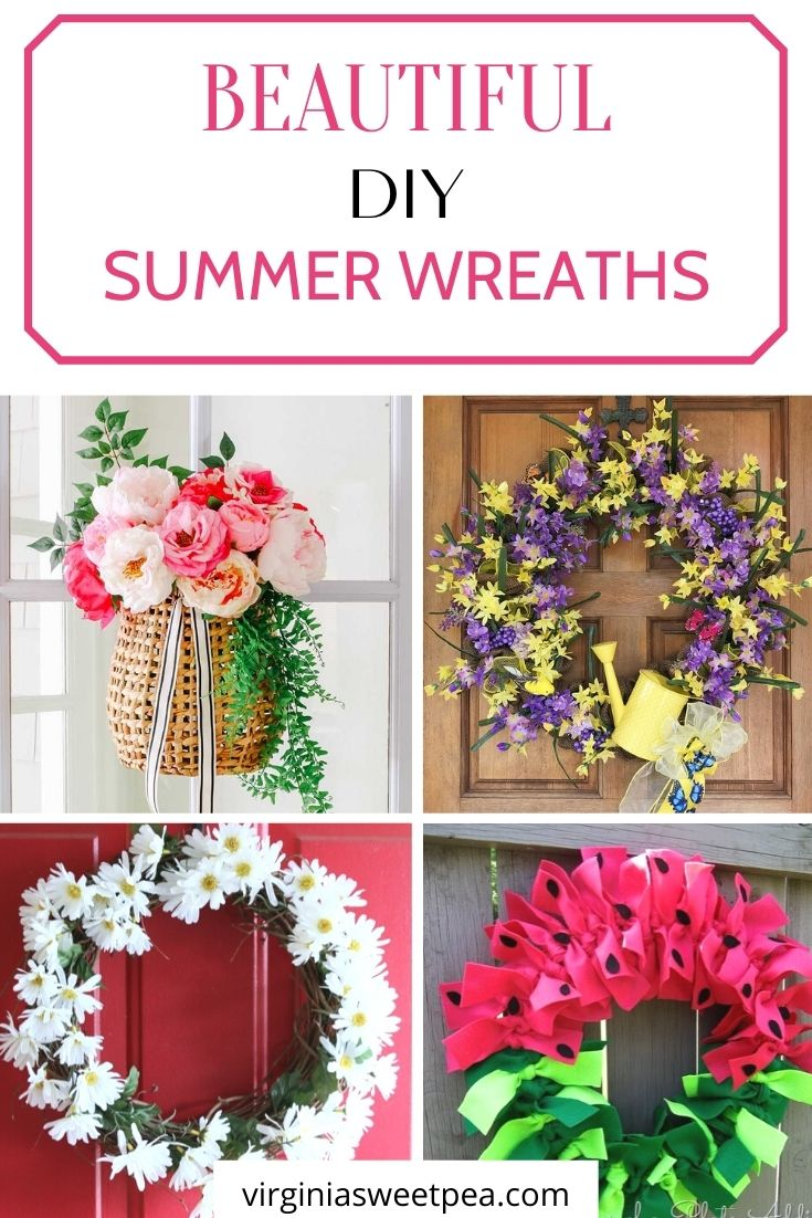 Greet your friends and family with one of these beautiful DIY front door summer wreaths. I've gathered 25 easy to make ideas to inspire you. #virginiasweetpea #diysummerwreaths #handmadesummerwreaths  via @spaula