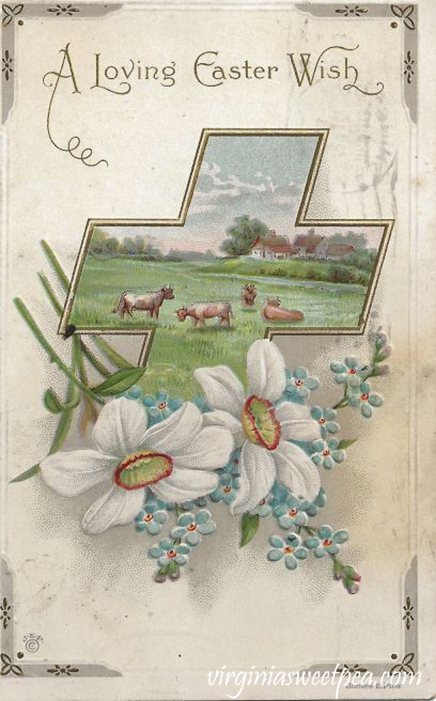 A Loving Easter Wish Antique Postcard
