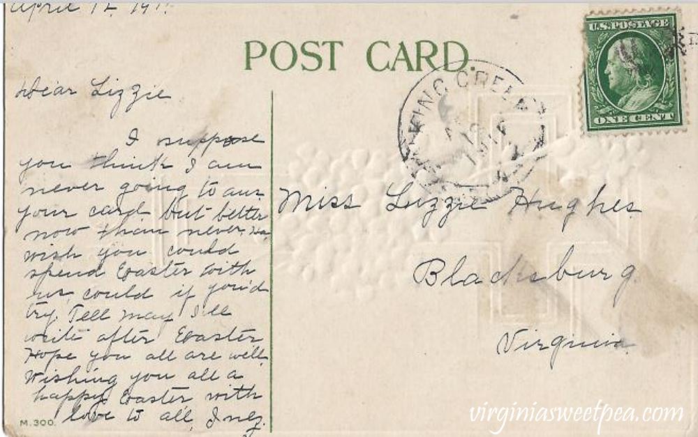 Best Easter Wishes Antique Postcard - Back Side