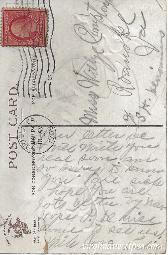 Back side of an antique Easter postcard