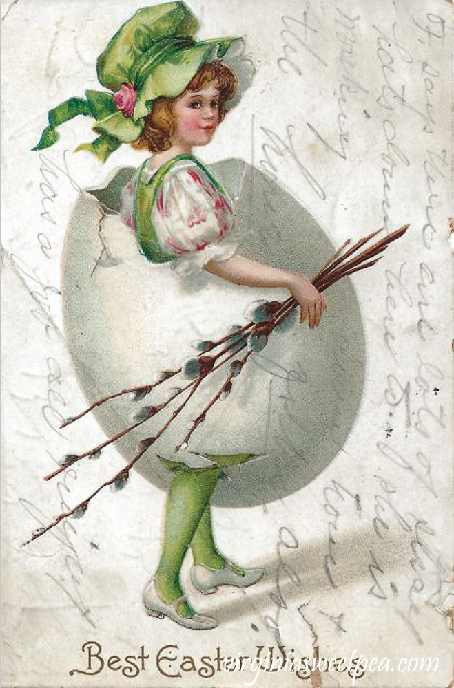 Best Easter Wishes with Girl in a Green Bonnet