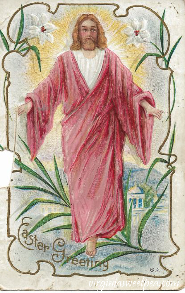 Easter Greetings with Jesus Antique Postcard