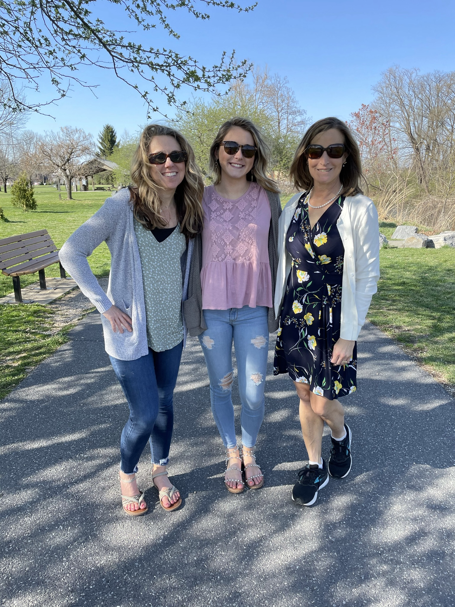 Three women walking in Waynesboro, VA along the South River