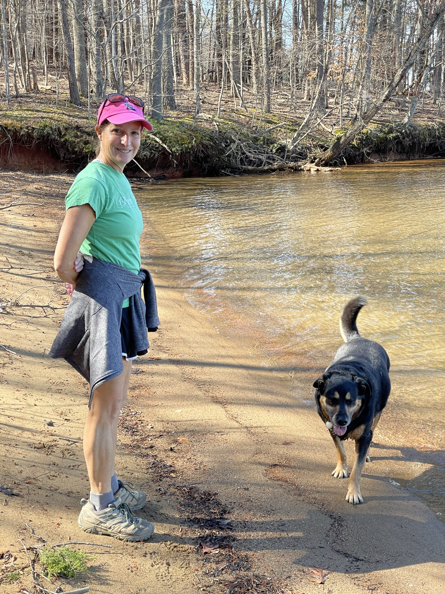 Woman and dog enjoying Smith Mountain Lake State Park in March 2021