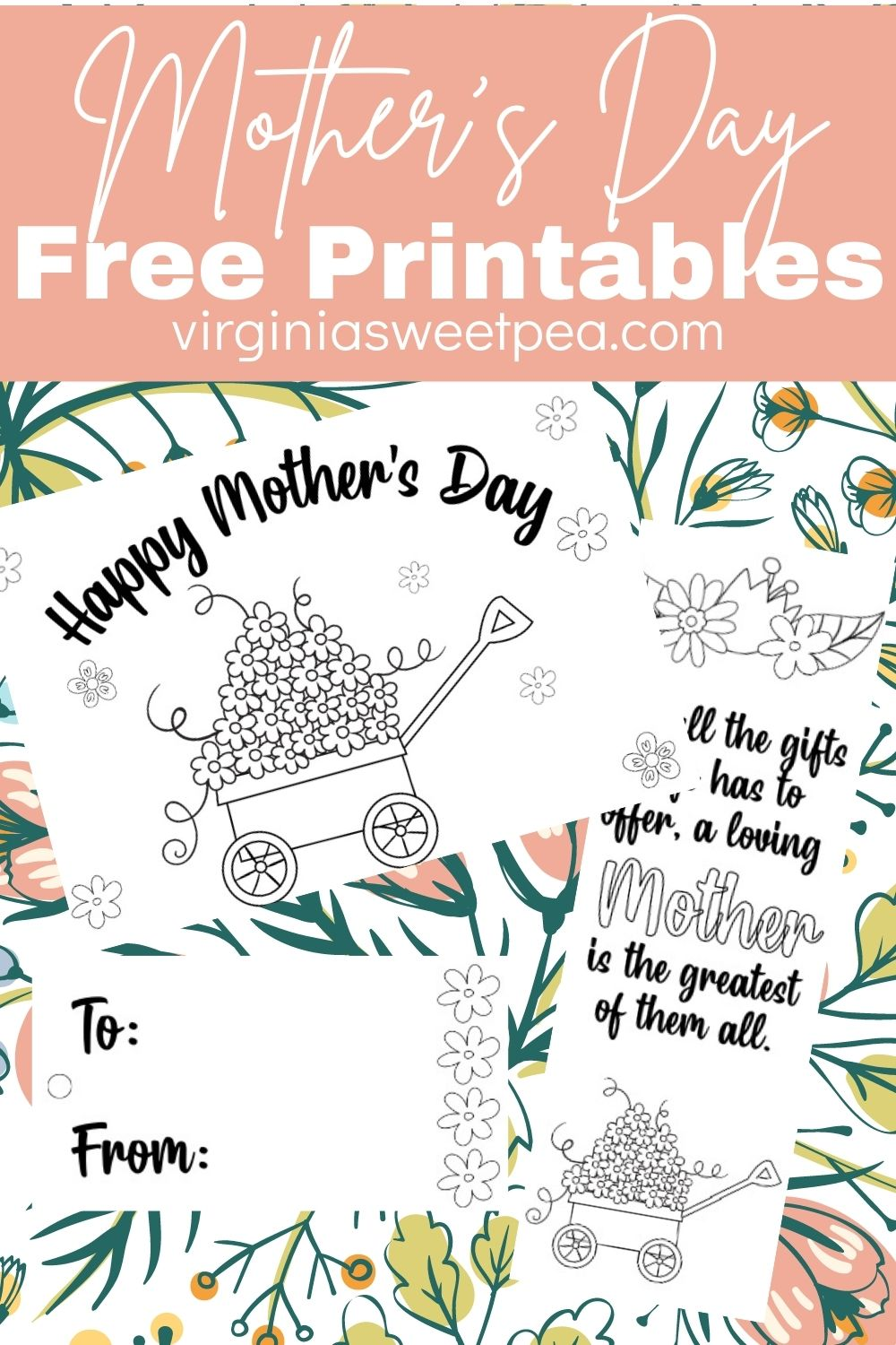 Print and color a free printable Mother's Day card, bookmark, and gift tag.  Kids or adults can use these to create something beautiful and special to give mothers or grandmothers. #mothersday #freeprintable #printablemothersdaycard via @spaula