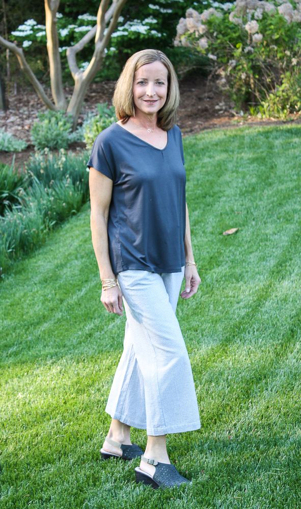 Stitch Fix Papermoon Ampton Back Detail Knit Top with Violets & Roses Stella Pull on Wide Leg Pant-