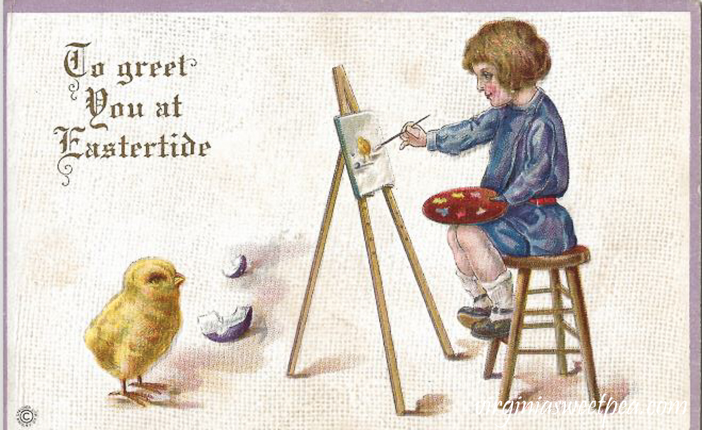 To Greet You at Eastertide Antique Postcard