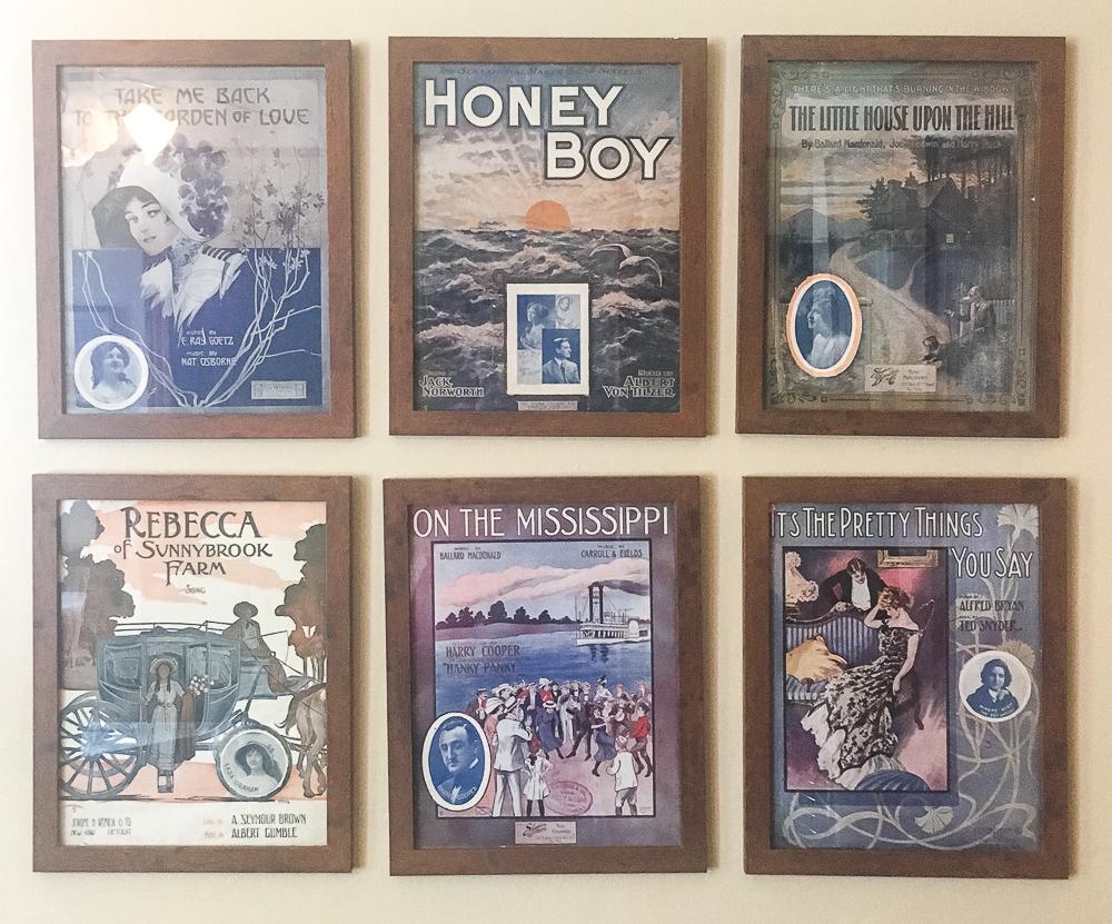 Framed WWI Era Sheet Music