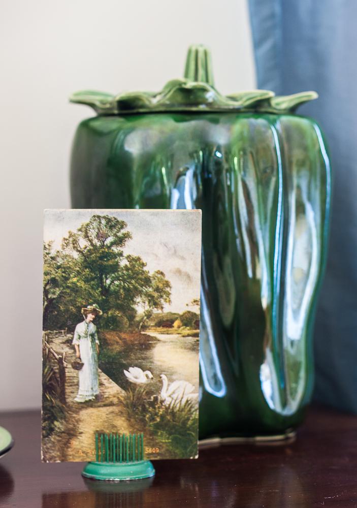Vintage McCoy green pepper cookie jar with 1908 postcard