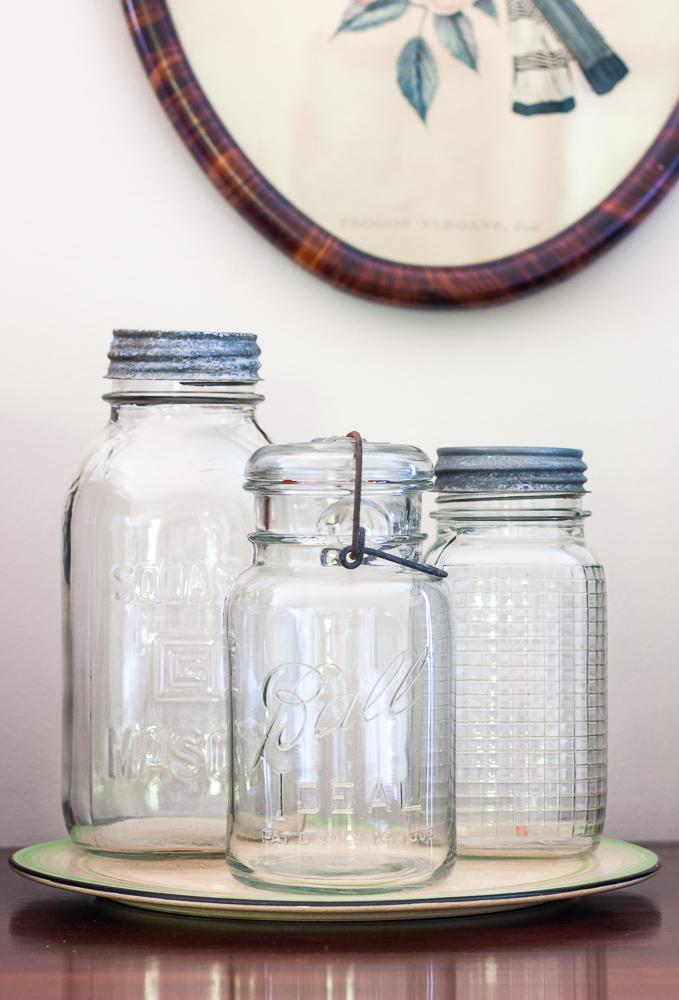 Vintage Mason jar with waffle grid design, Ball Ideal jar, Mason strong arm jar
