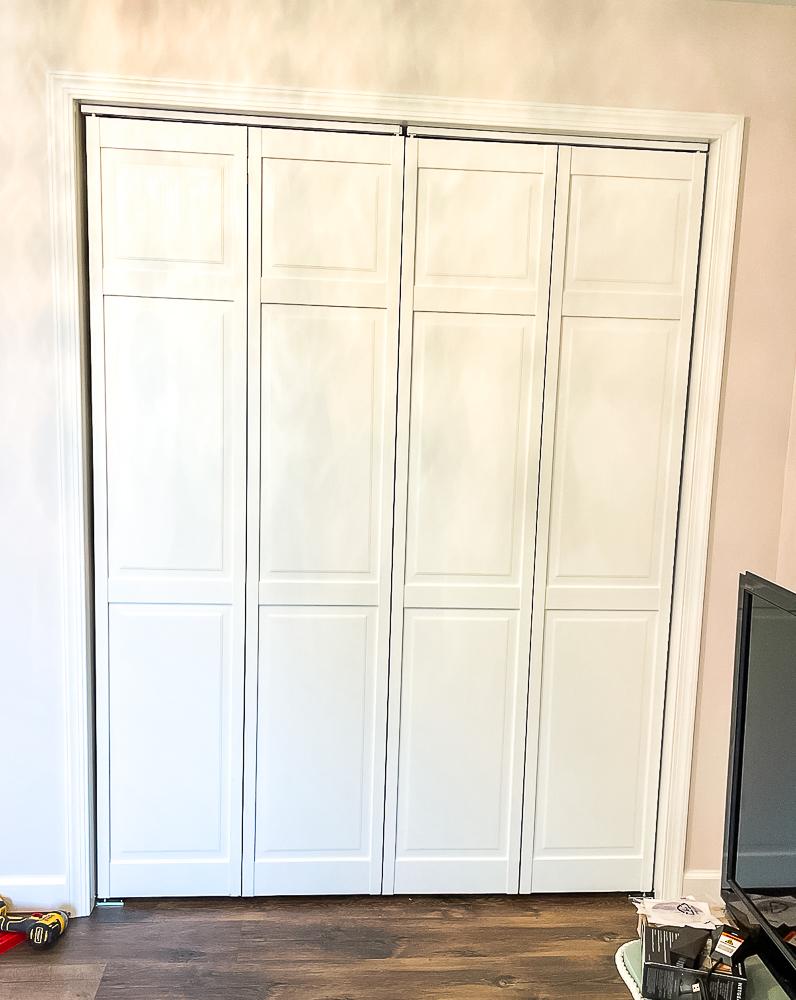 Bifold closet doors painted white