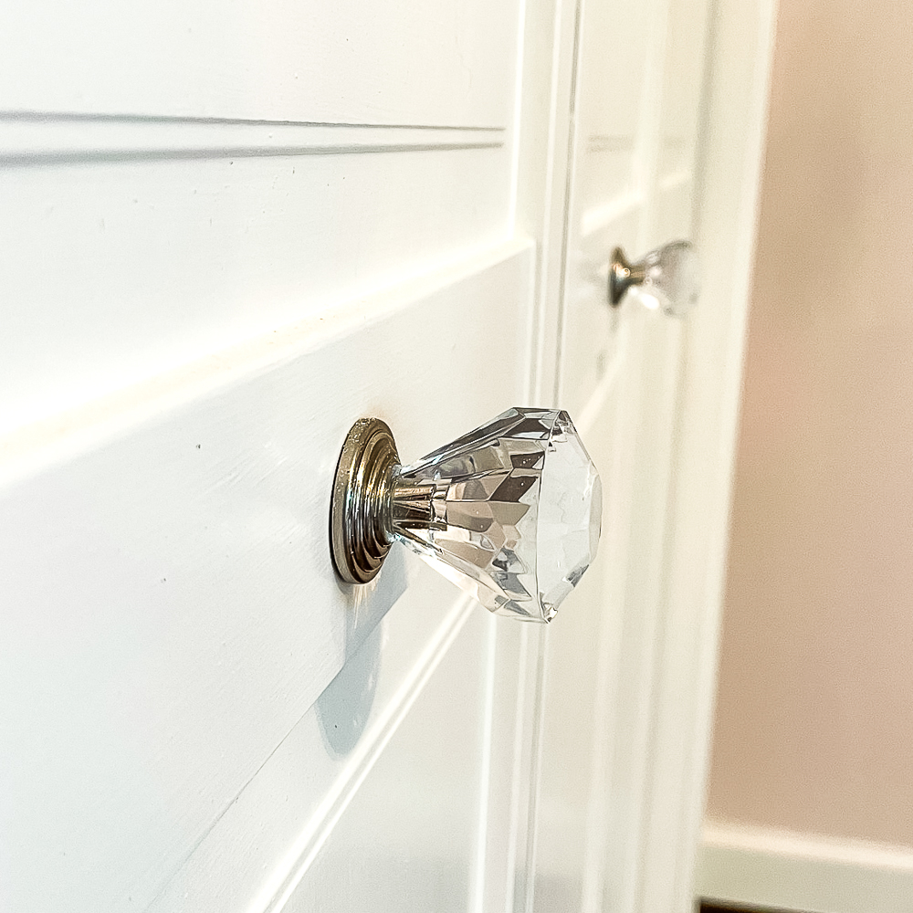 Glass look knobs on bifold closet doors