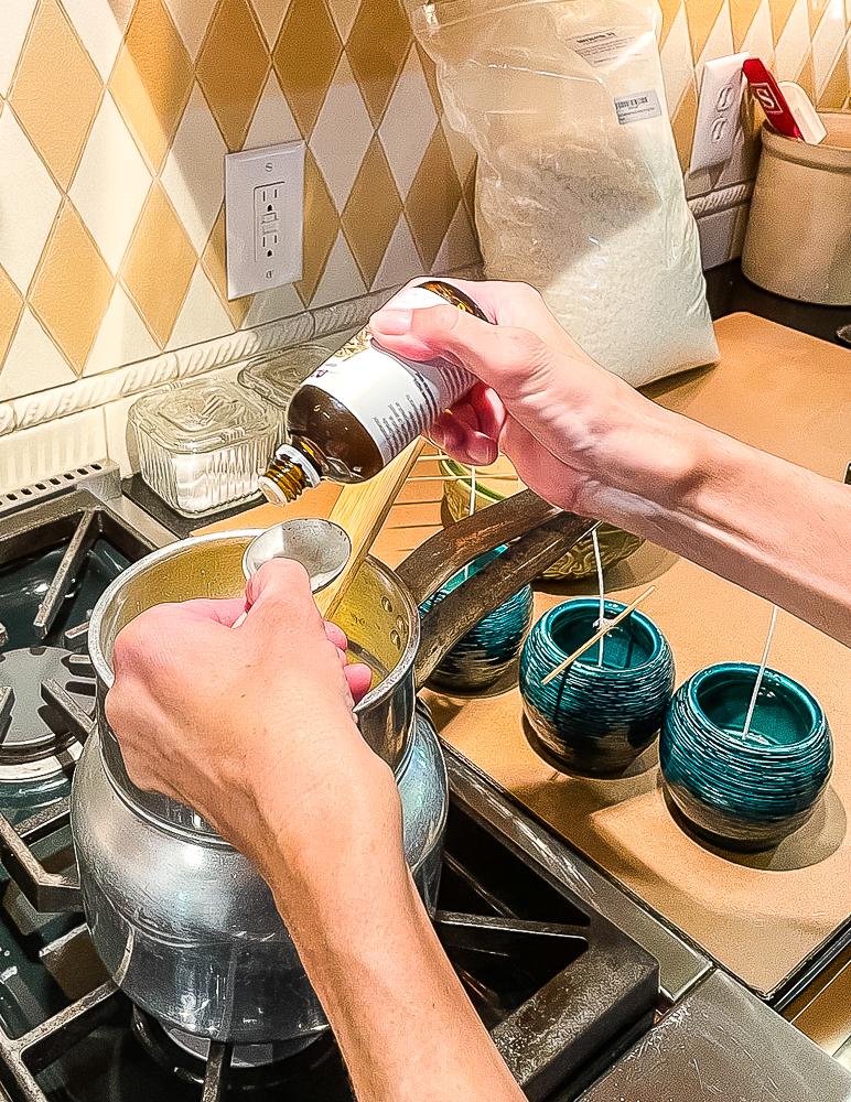 Adding Citronella essential oil to candle wax