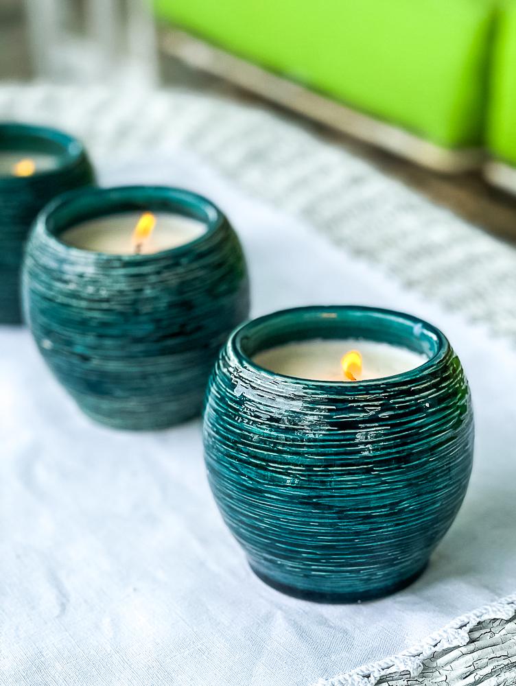Trio of homemade Citronella candles