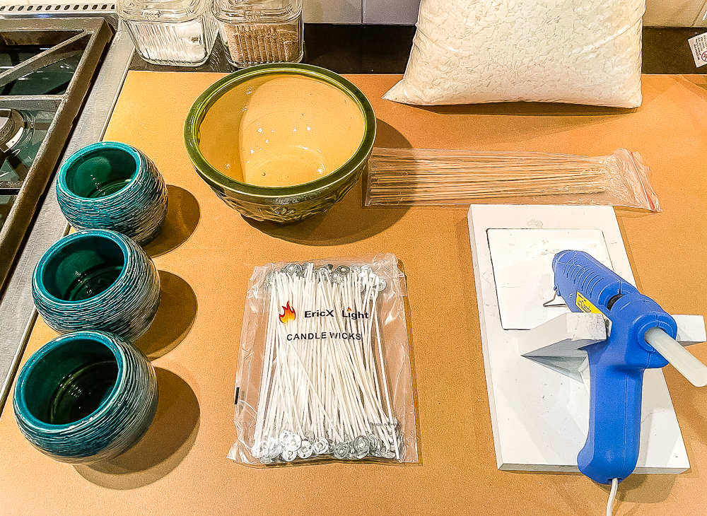 Supplies to make homemade Citronella candles