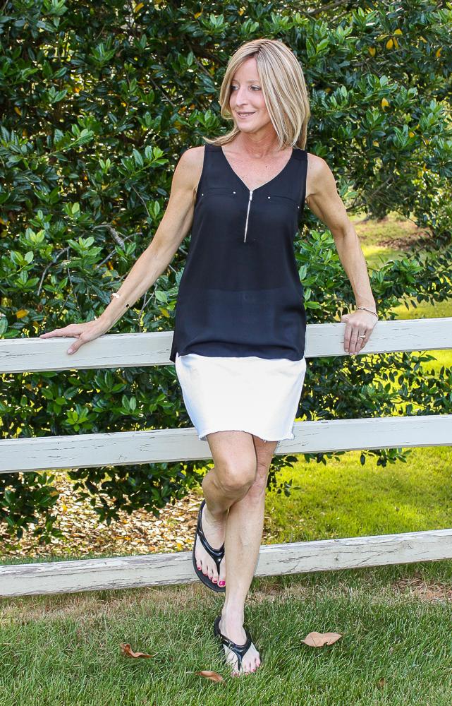 Stitch Fix Fortune + Ivy Lighton Zip Detail Mixed Material Blouse with Vineyard Vines Katy Raw Hem Denim Skirt