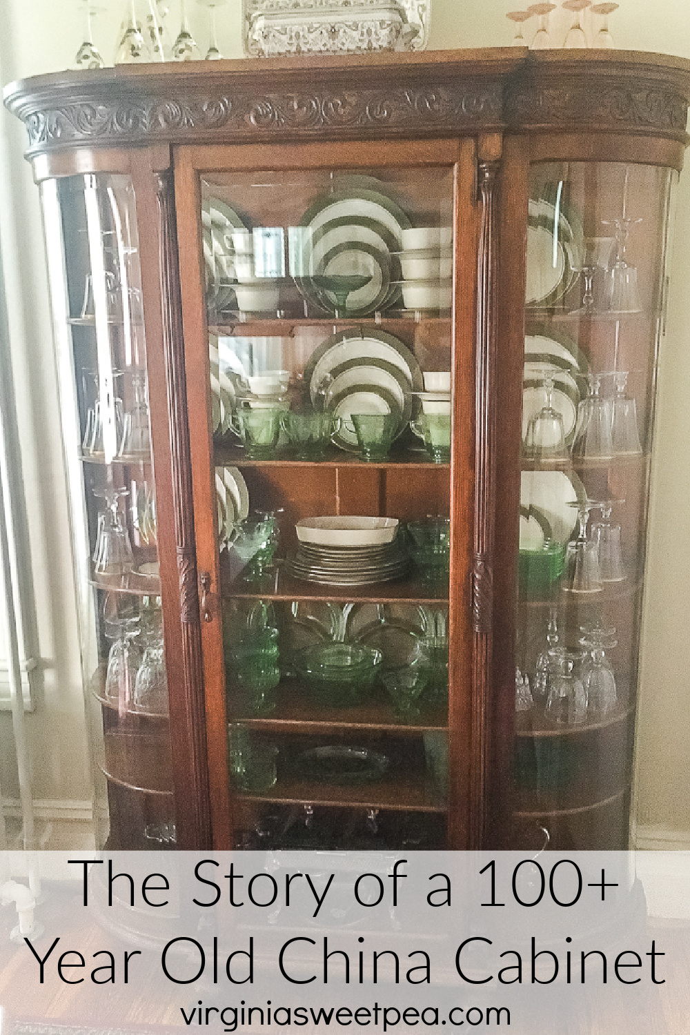 100+ year old oak china cabinet filled with green depression glass and 1968 china
