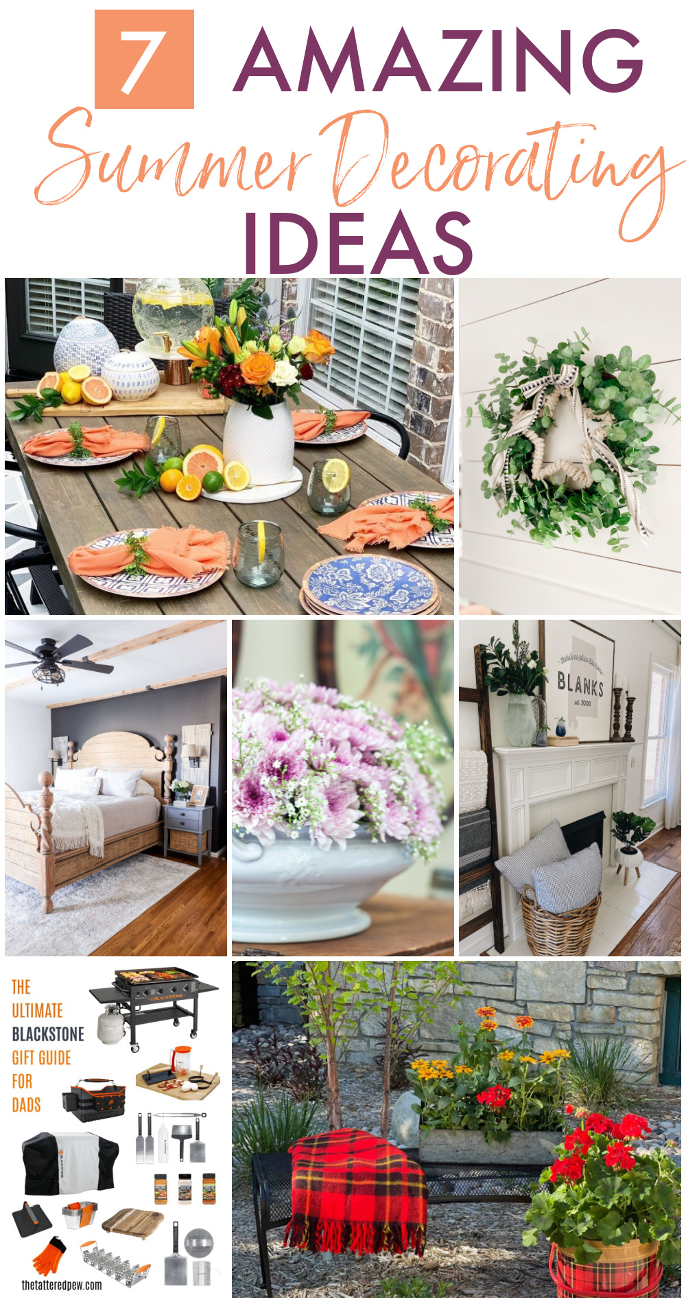Collage of seven summer decorating ideas