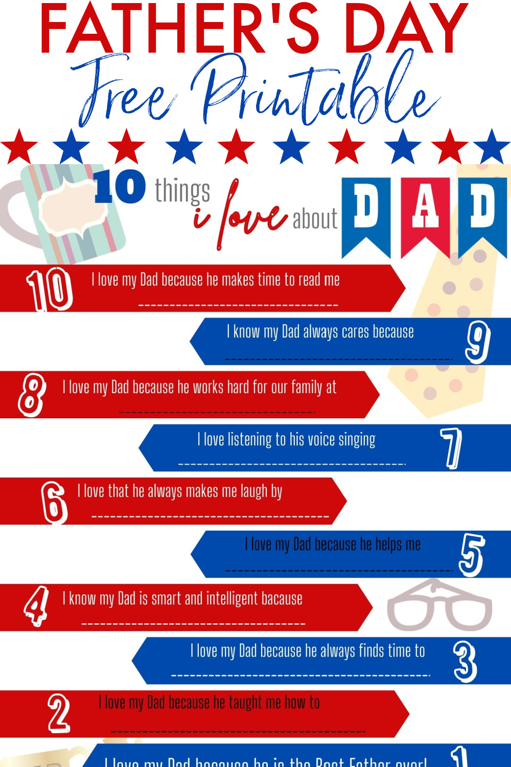 10 Things I Love About Dad Father's Day Free Printable