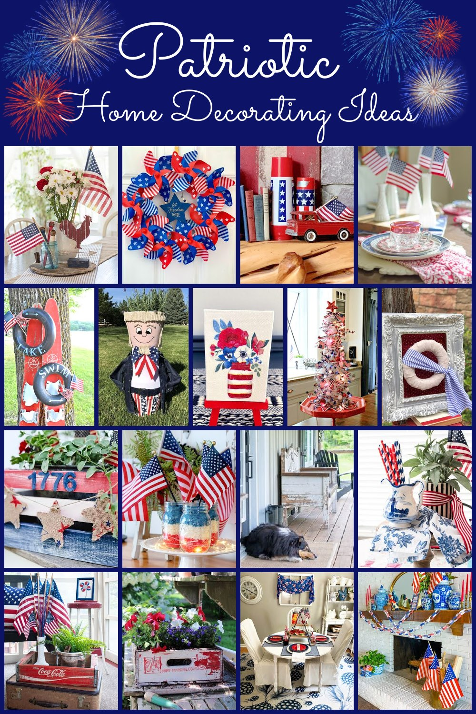 Collage of 17 patriotic home decor ideas