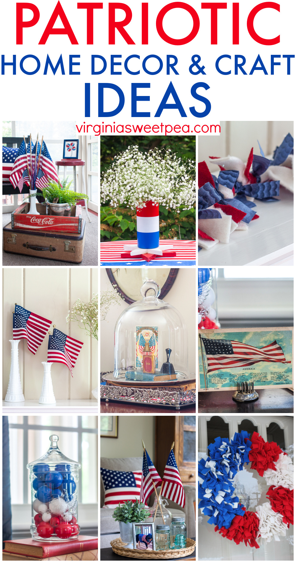 Collage with nine patriotic home decor and craft ideas